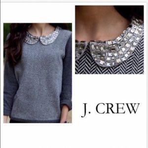J. Crew Collection Jeweled Collar Grey Sweater